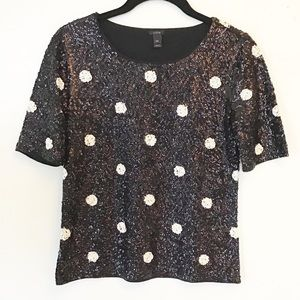 J Crew Polka Dot Sequin T-Shirt Black and White